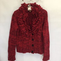 Ellen Tracy Women S Wool Blend Sweater Cardigan Fringe Collar Chunky Kni... - $33.99