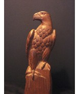 Patriotic Art: Hand Crafted-Finished Wooden Eagle Sculpture 9 Inches Tall - $11.99