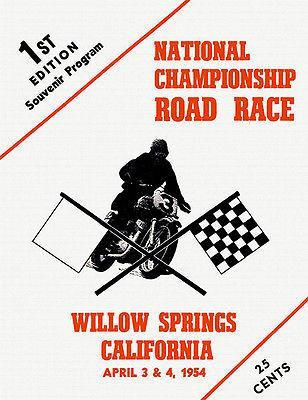 Primary image for 1954 Willow Springs National Championship Motorcycle Road Race - Poster