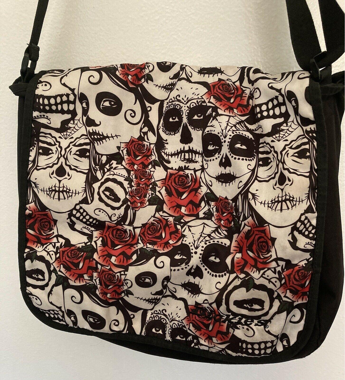 Dickies Signature Messenger Shoulder Bag Backpack Crossbody Book Brown Skulls - $47.29