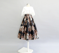 Black Midi Party Skirt with Pockets A-line Floral Black Party Skirt Outfit image 10