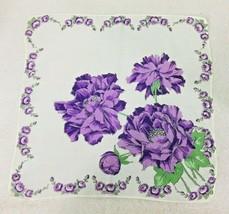 Vintage Hankie Sweet Colors Purple Fluffy Flower Heads Faces w Rose Garl... - $18.32