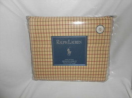 Ralph Lauren Home Bramble Tattersal Neutral 100% Cotton Full Flat Sheet NEW - $33.25