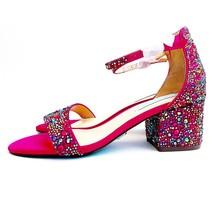 New Betsey Johnson Hale Heels Sandals Embellished Fuscia Pink Womens Size 6 - $59.99