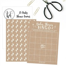 25 Rustic Kraft Bingo Game Cards For Girl Baby Shower + Baby Feet Chip P... - ₨778.60 INR