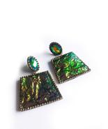 Iridescent Earrings, Green Earrings, Green Gold, Color Shift, Statement ... - $67.00