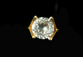 Vintage Gold Plated Large Crystal Paste Solitare Statement Ring Size 6.5 - $40.49
