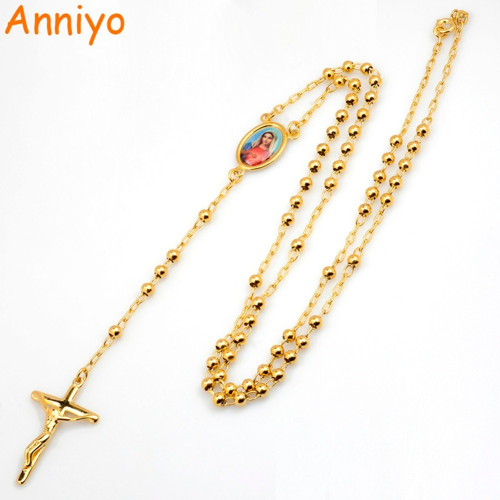 Primary image for Our lady Virgin Mary Long Rosary Necklaces Bead Chain Cross Pendant