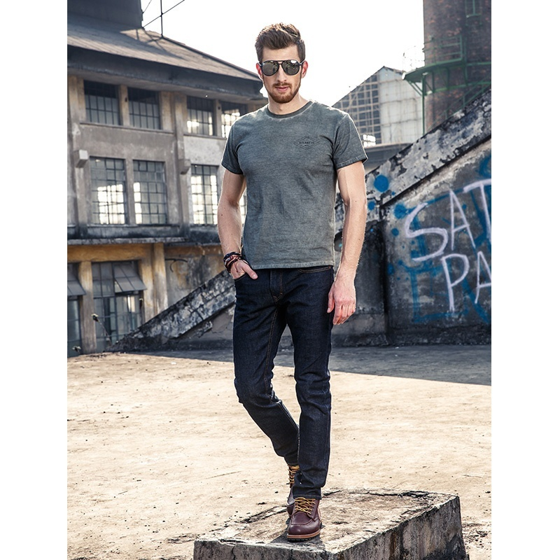 FUHAOGONGSHE2018 Spring and Summer New High-quality Black Men's Jeans Cotton 98%