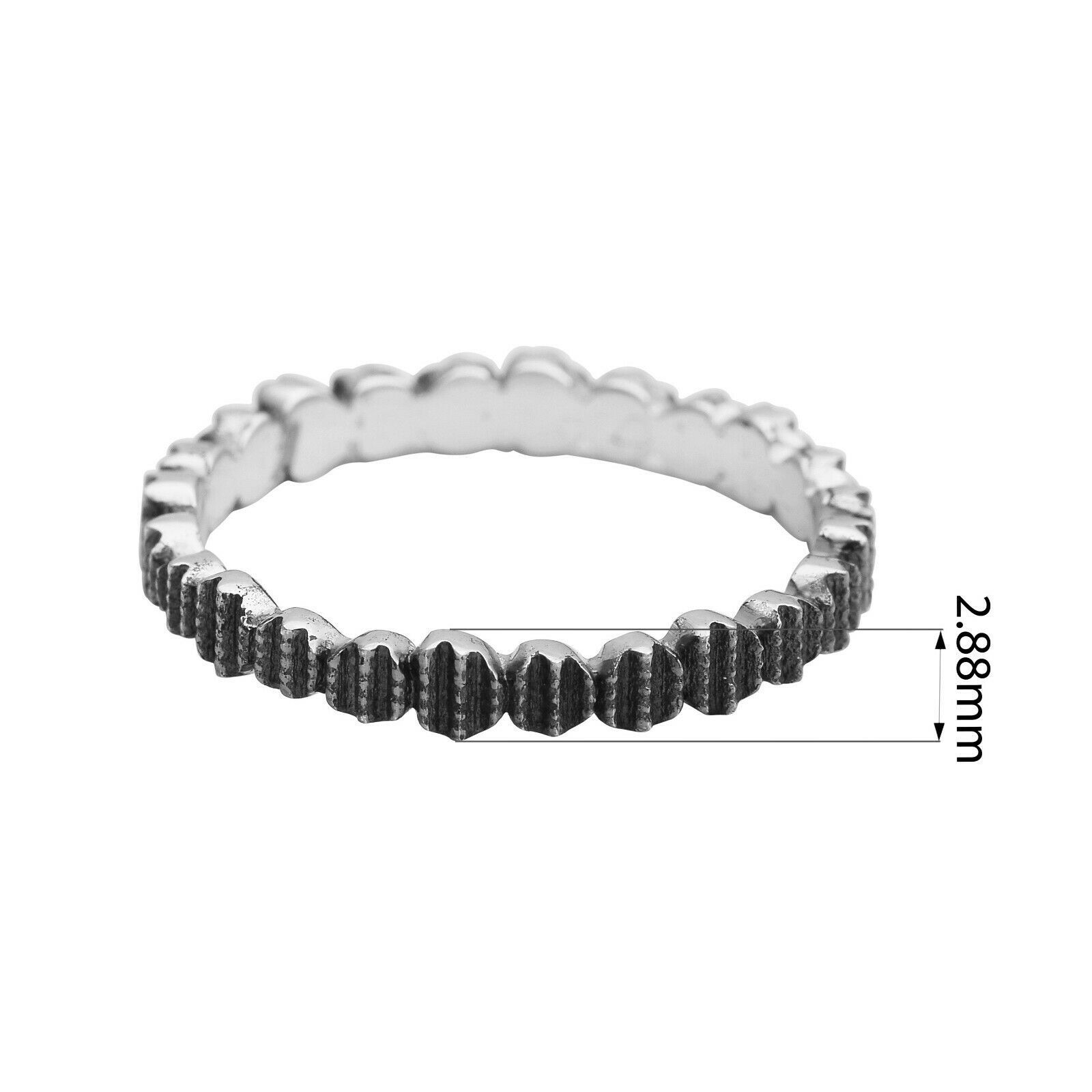 Solid 925 Sterling Silver Hammered Finish Oxidized Stacking Band Unisex Ring