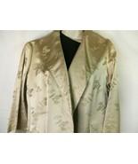 Asian Dynasty Tan Silk Jacquard Open Jacket Lotus Hong Kong Red Lined M VTG - $74.22