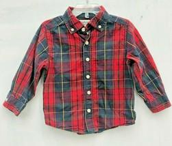 EUC Boy 2T OshKosh Red Green Navy Blue Yellow Plaid Button Front Cotton Shirt - $3.99