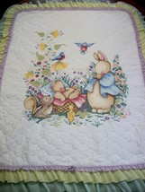 "Hand Quilted & X Stitched ""LITTLE ONE"" Baby Quilt Crib Cover add name - $169.99"