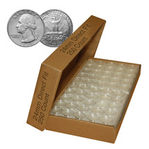 Direct Fit Airtight 24mm Coin Holder Capsules for QUARTERS - CASE QTY: 250 - $59.35