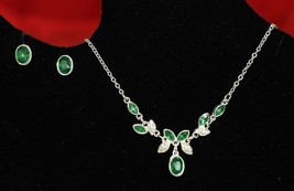 Avon Green Floral Necklace & Earring Gift Set. - $14.99
