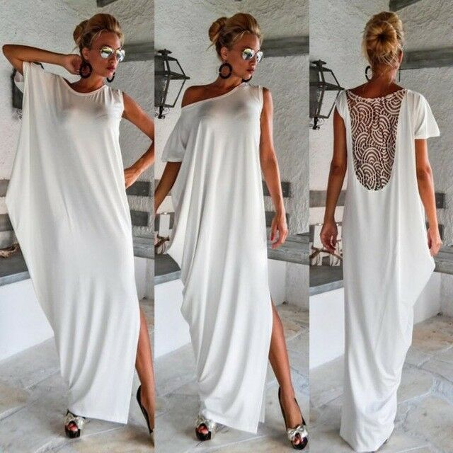 Primary image for Women's Backless Lace Splice Asymmetrical Floor Length Evening Maxi Dress S-XL