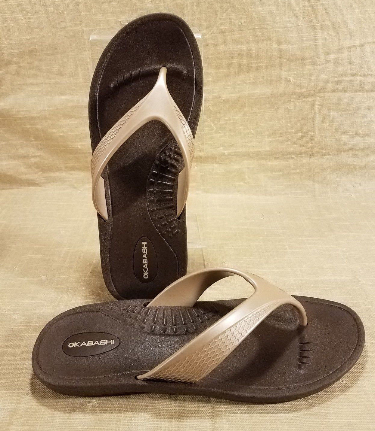 Okabashi Marina Flip Flops Thong Sandals Womens Size ML 8-9 Brown Gold Made USA