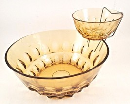 Vintage Mid-Century Amber Glass Thumbprint Pattern Tiered Chip & Dip Bowls - $23.33