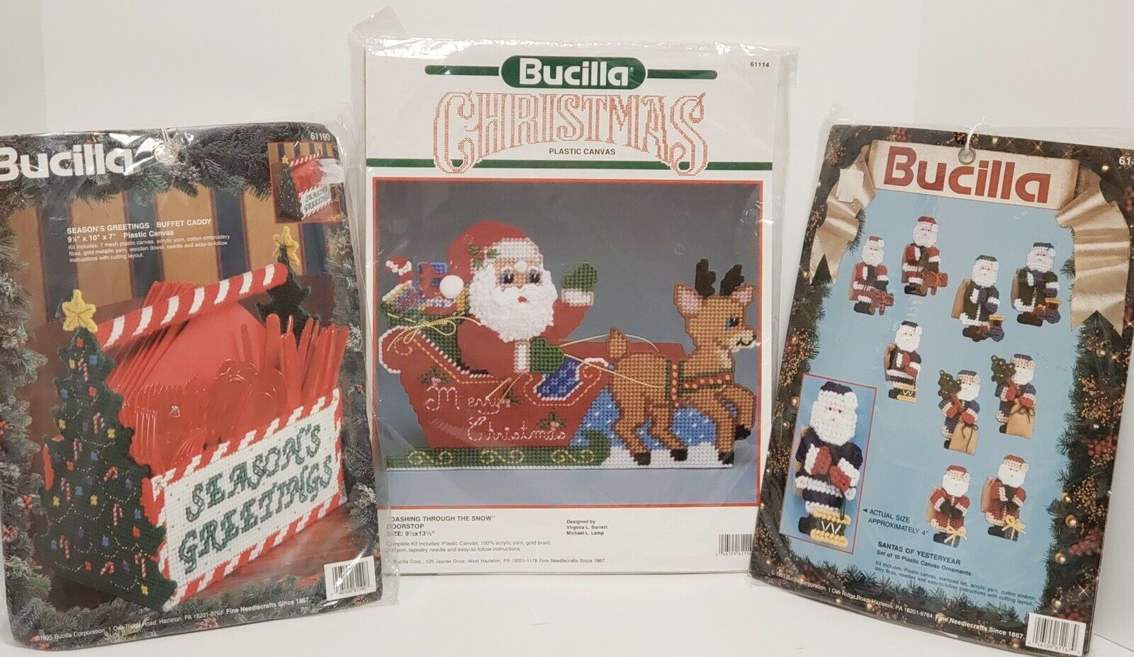 Primary image for Vintage Lot Of Three Bucilla Plastic Canvas Christmas Kits