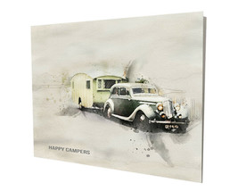 Old Car and Camper Happy Camper RV Trailer Art Design 16x20 Aluminum Wall Art - $59.35