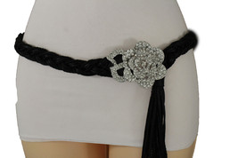 Women Silver Metal Flower Buckle Hip High Waist Fashion Fabric Band Belt XS S M - $18.61