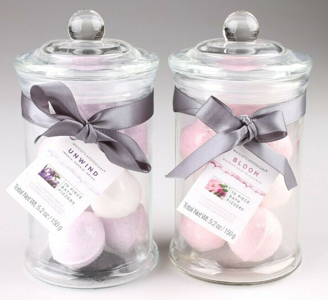 2 Glass Jars of Bath Bomb Fizzers Unwind and Bloom Gift Set 10 Mini Bombs Each