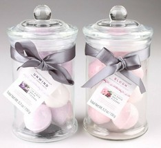 2 Glass Jars of Bath Bomb Fizzers Unwind and Bloom Gift Set 10 Mini Bombs Each image 1