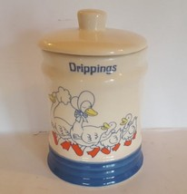 Vintage Drippings Jar Ceramic With Lid Goose Family Country Kitchen - $24.75