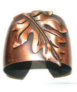 LARGE WIDE COPPER CUFF ARTISAN LEAF MODERNIST MOD STUDIO ARTISAN BRACELET - $99.99