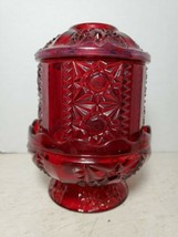 Vintage Ruby Red Stained Glass Fairy Lamp - $35.63