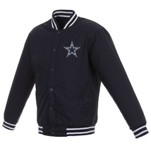 NFL Dallas Cowboys JH Design Poly Twill Jacket Navy Two Patches Logos JH Design - $129.99