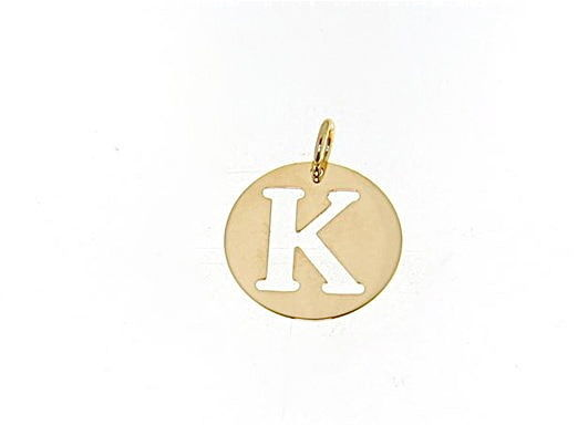 18K YELLOW GOLD LUSTER ROUND MEDAL WITH LETTER K MADE IN ITALY DIAMETER 0.5 IN