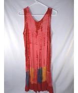 Double Decker Tie Dye Embroidered Shift Sun Dress Boho Hippie Womens M M... - $16.82