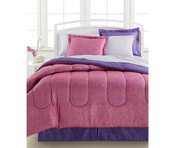 Comforter Bedding Set Ensemble King Size 8 Pc Bed In a Bag Paisley Pink ... - $58.75