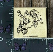Stampin' Up! Two Flowers Leaves Rubber Stamp 2005 Detailed Wood Mount #X101 - $3.22