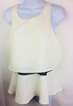Express Womens Blouse Keyhole Back  Ivory Black mesh waist Medium - $20.57