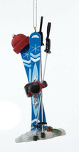 KURT S ADLER HAND PAINTED SKIING THEME CHRISTMAS ORNAMENT SKIS POLES HAT... - $9.88