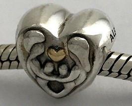 Authentisch Pandora Herz von der Familie Silber W/14K Gold Charm, 791771... - $55.84