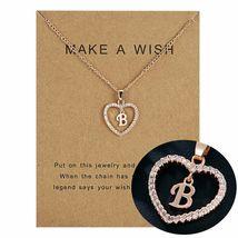 Women Necklace Heart Letter B Pendant Gold Clavicle Chains Choker Card J... - $13.95