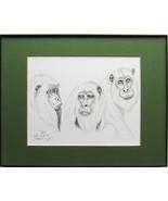 Three Monkeys, Framed Wildlife Art Print, Pen and Ink,  Home Decor, matt... - $30.00
