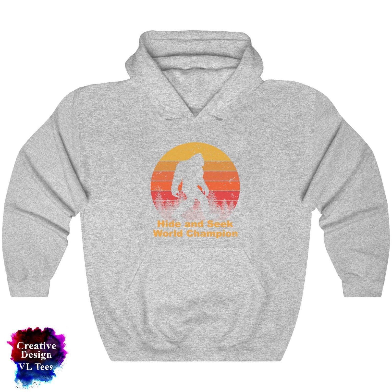 Funny Hide and seek champion Bigfoot Hooded Sweatshirt Gift Men Women Hoodie
