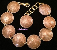 1956 61 Birthday Canadian Penny Charm Bracelet Gold Pl Accents Anniversary Gift - $33.75