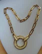 Vintage Signed Monet Cream Colored Enamel Pendant Chain Link Necklace - $32.18