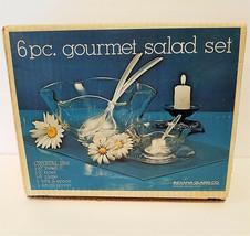 Crystal Glass Salad Bowl Set 6 Piece CIB - $37.78