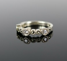 Vintage .925 Sterling Silver Signed CC Multi-Sized CZ Marcasite Size 5 R... - $16.12