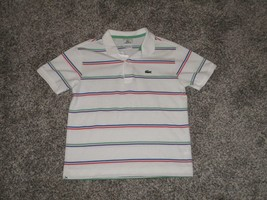 Lacoste Polo, White w/ Multi-Colored Stripes, Youth Size 12 - $11.02