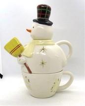 Hallmark Snowman Teapot TEA FOR 1 Stackable Pot & Cup Broom Spout Holiday - $28.49