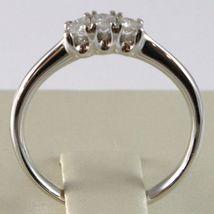 WHITE GOLD RING 750 18K, TRILOGY 3 DIAMONDS CARAT TOTAL 0.16, STEM ROUNDED image 3