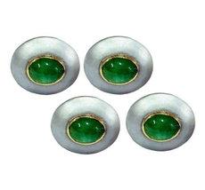 925 Sterling Silver Natural Fine Quality Emerald Gemstone Handmade Front Gold Pl image 2