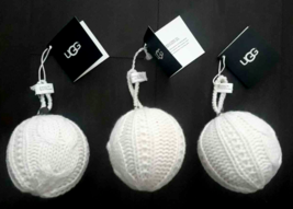 UGG Classic Cable Knit Christmas Tree Ornament Holiday Pompom Ball Lot 3... - $21.77